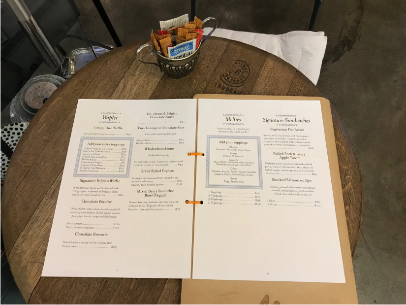 Photo of the Melt menu spread in the restaurant