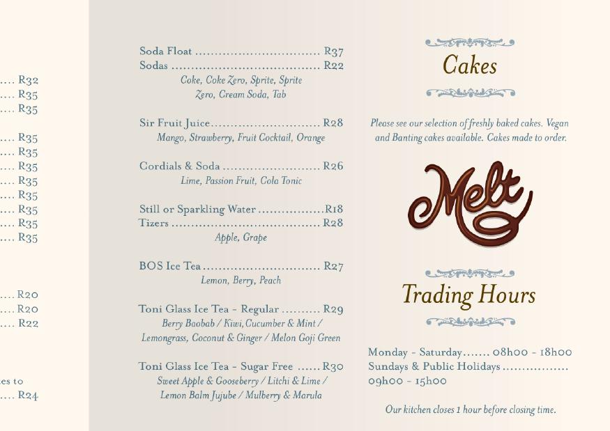 Melt menu close-up